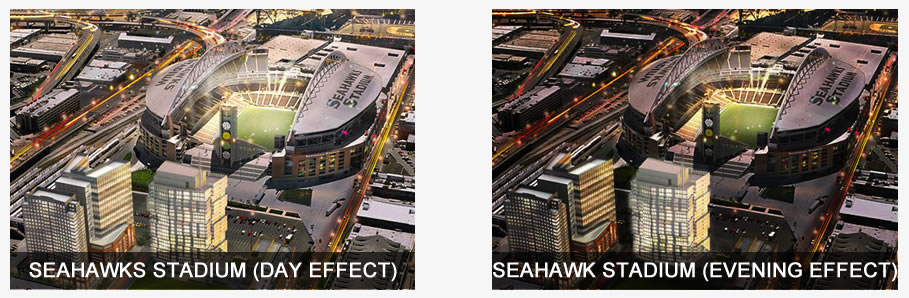 'Before' photo of the Seahawks Stadium with a day effect. 'After' photo is altered with an evening effect.