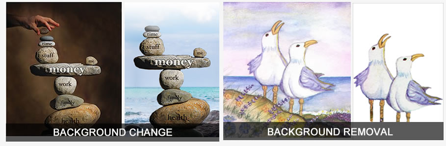 'Before' photo of a stack of Zen rocks with a brown background, and 'After' photo of the same Zen rocks with an ocean background. Also a 'Before' painting of two seagulls standing on a cliff with an ocean background, and 'After' image of the same painting with just the two seagulls and no background.