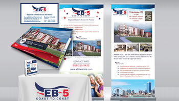 Small image of a collage of marketing material - vertical banners, table cloth with company logo, flyers, business cards.
