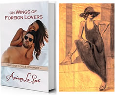 Small image of a book cover for 'On Wings of Foreign Lovers' and charcoal drawing of a model in a sundress, sunhat, and sunglasses.