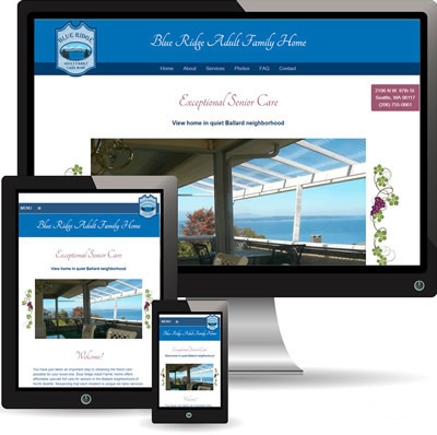 photo of Blue Ridge Adult Family Home website displayed on desktop, iPad and cell phone.