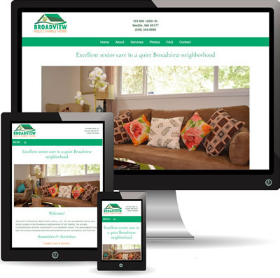 photo of Broadview Adult Family Home website displayed on desktop, iPad and cell phone.