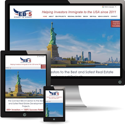 photo of EB5 Coast To Coast website displayed on desktop, iPad and cell phone.